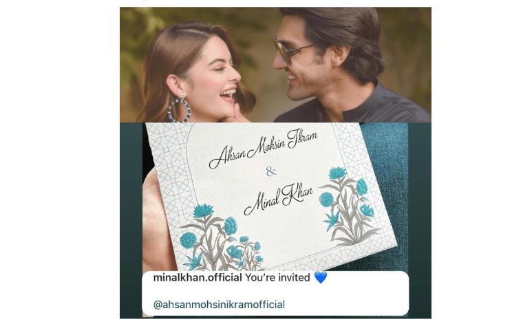 Minal Khan Shares pic of Her & Ahsan Mohsin Wedding Card